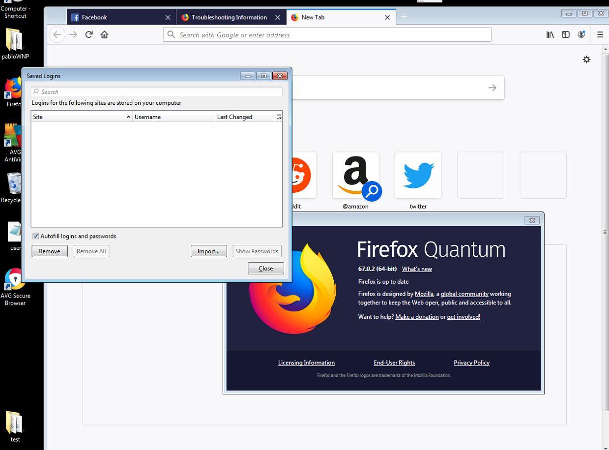 Firefox: Leere Passwortliste